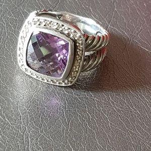 David Yurman Albion 11mm Amethyst Diamond Ring